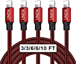 UNEN iPhone Charger Cable(3/3/6/6/10FT)5 Pack Nylon Braided-Black and Red
