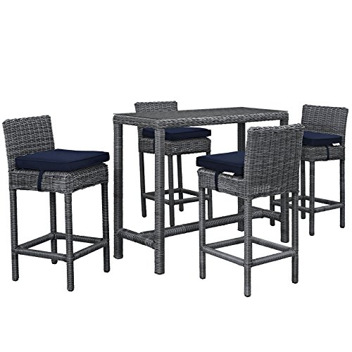 Modway Summon 5 Piece Outdoor Patio Pub Set With Tempered Glass Top And Sunbrella Brand Navy Canvas Cushions (Top Outdoor Furniture Brands)