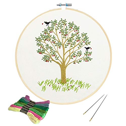 Full Range of Embroidery Starter Kit with Pattern, Kissbuty Cross Stitch Kit Including Embroidery Cloth with Plants Pattern, Bamboo Embroidery Hoop, Color Threads and Tools Kit (Cherry Tree) (Cross Stitch Family Tree)