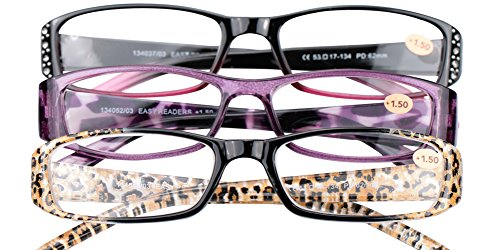 SOOLALA 3-Pairs Womens Designer Fashion Rhinestone Lightweight Reading Glasses, ()