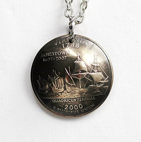 (Virginia State Quarter Domed Coin Necklace Jamestown History Commemorative Pendant 2000)