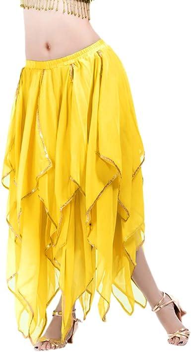 TIFlY Moda Larga Falda de Danza del Vientre para Mujer Dobladillo ...