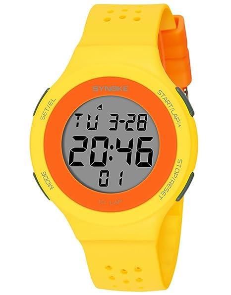 cheamlion amarillo natación Cronógrafo digital elástica reloj para niñas: Amazon.es: Relojes
