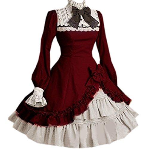 Stehkragen Partiss Unregelmaessiges Damen Kleider Sweet Weinrot Schleife Lolita Langarm 55ZBqExrw