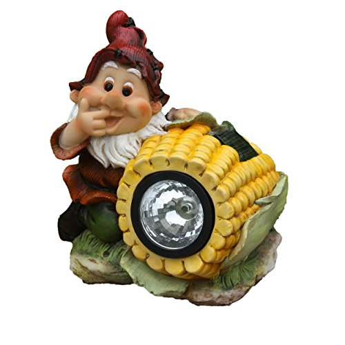 SINTECHNO SNF13007-4 Cute Gnome Sculpture with Yellow Corn Solar Light