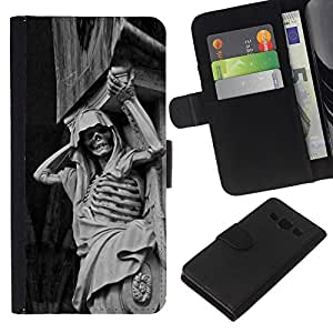 NEECELL GIFT forCITY // Billetera de cuero Caso Cubierta de protección Carcasa / Leather Wallet Case for Samsung Galaxy A3 // Piedra Esqueleto
