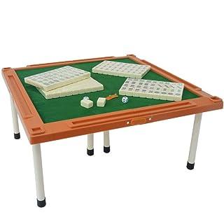 Mini Viaggio di plastica Piccolo Mahjong Dormitorio Mini Portatile Piccolo Mahjong Incisione di Marca con Desktop Pieghevole ( Color : Beige )