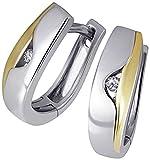 Goldmaid-Damen-Creolen-925-Sterlingsilber-gelb-vergoldet-2-Brillanten