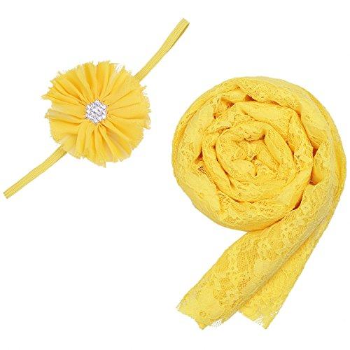 28c0b9e2a iiniim Newborn Baby Lace Wrap Cloth Photography Props Blanket with  Headdress Flower