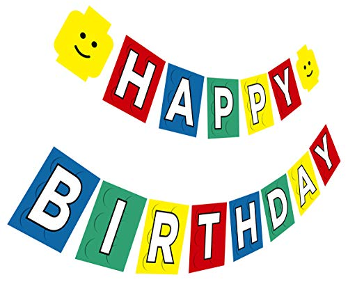 Building Brick Birthday Banner, Building Block Party Sign, Brick and Block Happy Birthday Bunting