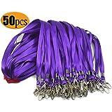 Purple Lanyard Clip Swivel Hook 50 Pack 33-Inch Lanyards with Clip Badge Lanyard Bulk Office Nylon Neck Flat lanyards for id Badges Key Chains(Purple)