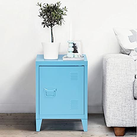 Amazon Blue Metal Nightstand Cabinet Side End Table with Door