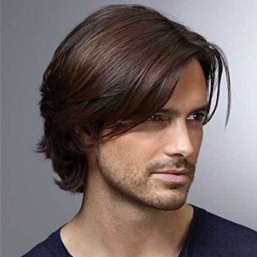 SinoArt 7 Inches Men's Hairpiece Human Hair Toupee Wig Super Thin Skin Hair Replacement 130% Density Mono Base 6''x8'' ( #3 Darker Brown ) by SinoArt