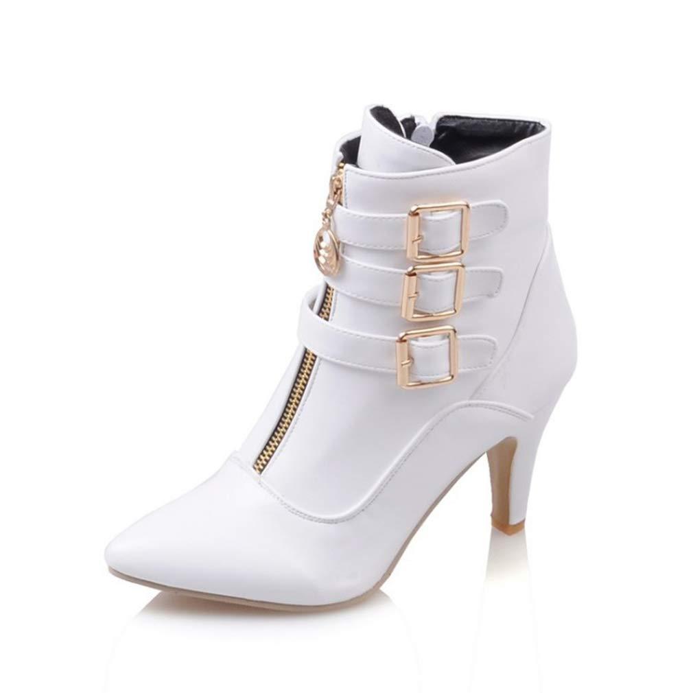 Hy Damenstiefeletten künstliche PU-Herbst-   Winterstiefel Mode-Stilettabsatzschuhe Martinsstiefel Formelle Schuhe für Büro & Karriere (Farbe   Weiß Größe   33)