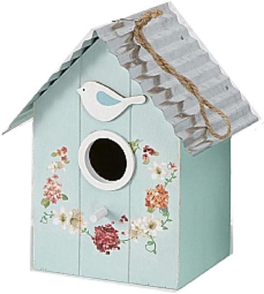 CasaJame Hogar Accesorios Decoración Jardín Casa para Pájaros Azul Claro con Decoración Floral 15x12x22cm: Amazon.es: Productos para mascotas