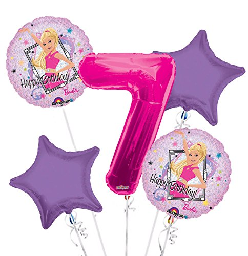 Happy Birthday Barbie Sparkle Balloon Bouquet 7th Birthday 5 pcs - Party ()