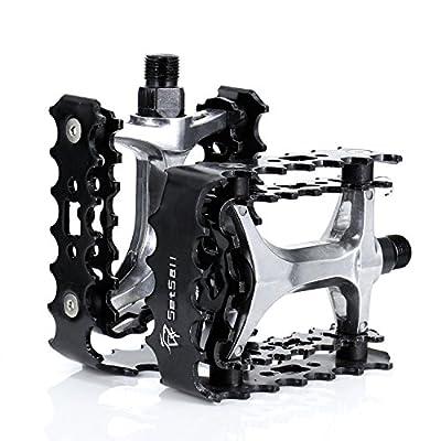 "Big Foot Road Bicycle Bike Aluminum Alloy Platform Pedals, MT Bike Pedals, CNC Steel Axle 9/16"", iParaAiluRy"
