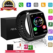 Bluetooth Smart Watch Touchscreen with Camera,Unlocked Watch Cell Phone with Sim Card Slot,Smart Wrist Watch,Waterproof Smartwatch Phone for Android Samsung IOS Iphone 7 6S Men Women Kids (Black, L)