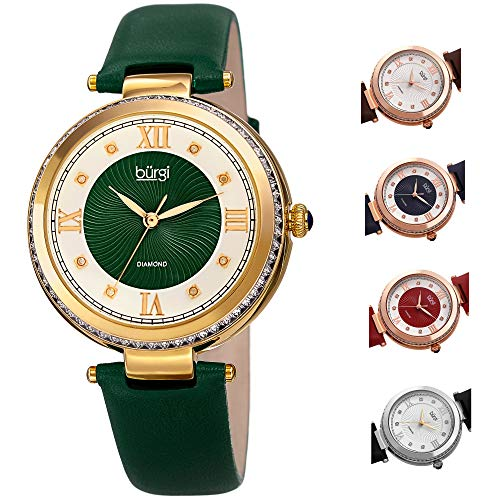 Burgi Leather Women's Watch - Baguette Crystal Studded Bezel - GuillocheDial Genuine Diamond Markers - Green Genuine Leather Skinny Strap - BUR202GN