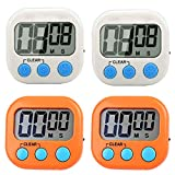 4 Pack Digital Kitchen Timer, Cooking Timers Clock, Simple Operation, Large Display, Loud Alarm, Magnetic Backing Stand, ON/OFF Switch, Minute Seconds Count Up Countdown for Kids Games Exercise Office
