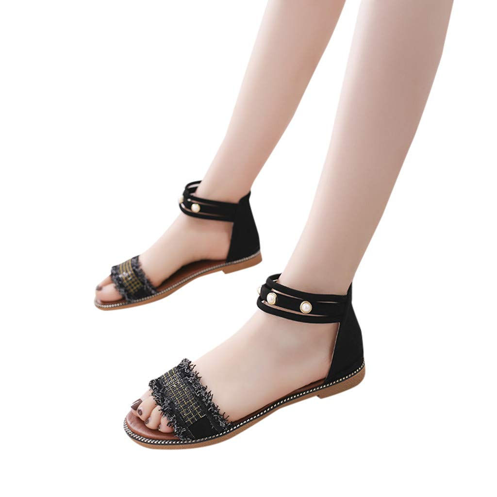 Lurryly Womens Ankle Strap Platform Open Toe Low-Heeled Casual Sandals Fish Mouth Shoes