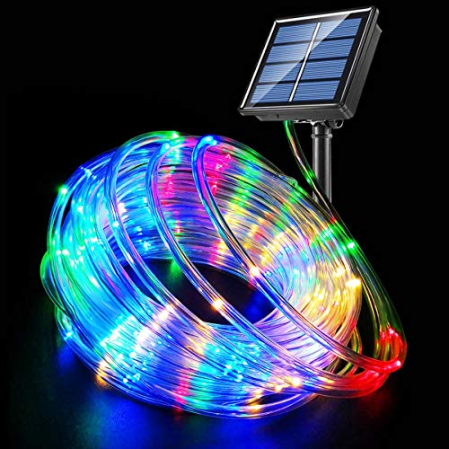 Fatpoom Solar Lights 40FT 120 LED Rope Lights,Solar Powered String Lights 8 Modes Fairy Lights,Outdoor Decoration Lighting for Garden Patio Party,Weddings,Christmas Décor Multi-Color