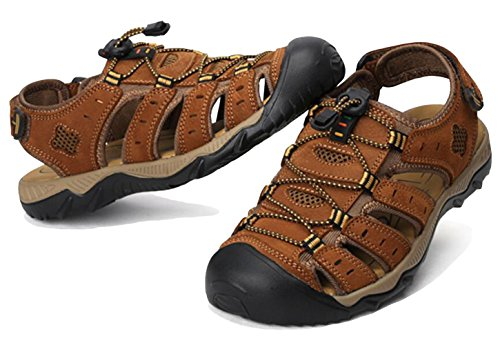 Leather 5 Summer Toggle Size Toe Brown Outdoor Touch Sandals Fastening Closed 12 Sandals Trail Men's 5 Shoes Sports GFONE amp; waYq5ES