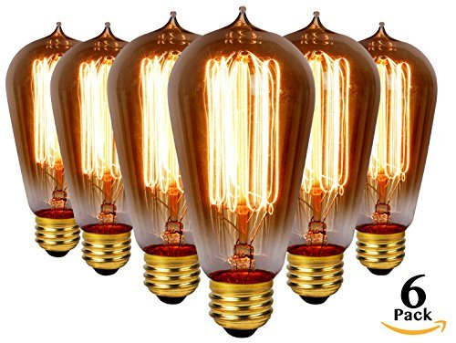 Vintage Edison Light Bulb 60W (6 Pack) LUMENZA Edison Light Bulbs Antique Vintage Style Bulbs 400 Lm 120v E26 Edison Bulb Amber Warm for Wall Sconces, Ceiling Fans, Chandeliers