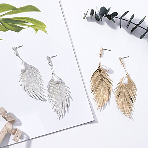 Emorias 1Pair Pendientes de plata Moda pluma de plata cuelgan los pendientes del gancho de la gota Muchachas de las Mujeres Pendientes para Joyer/ía Accesorios