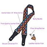 Lausihay Bohemian Ukulele Shoulder Strap,1.5 Inch Adjustable Metal Buckle Ukulele Straps,Hawaii Ukulele Accessories Guitar Shoulder Straps With Button