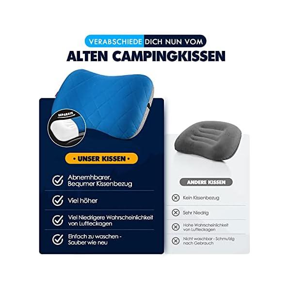 514v3DFPUIS Hikenture Aufblasbares Camping/Reise Kissen mit Abziehbarem Kissenbezug, Ergonomisches Kopfkissen, Komfortables…
