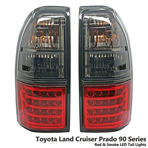 1 Pair Rear Red & Smoke LED Tail Light Lamp Fit Toyota Land Cruiser Prado FJ90 FJ95 96-02 ()