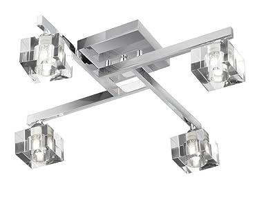 Searchlight 4 Light Sculptured Ice Cube Chrome Modern Ceiling Light Fitting