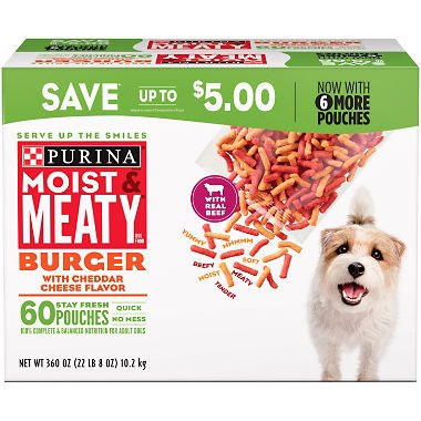 Purina Moist & Meaty Burger With Cheddar Cheese Flavor Adult Dry Dog Food (Burger with Cheddar Cheese Flavor, 6 oz. Pouch, 1 Box of 60 Pouches) by Purina Moist & Meaty