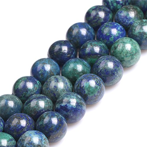 Lapis Malachite Necklace - 16mm Round Dyed Lapis Lazuli Malachite Semi Precious Stone Large Big Beads for Jewelry Making Strand 15''