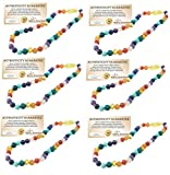 SIX Pack - Baltic Essentials 12.5 inch Baltic Amber Necklace Rainbow Honey Amber Pink Rose Quartz Red Agate Amethyst Aventurine Cyrsocolla Baby, Infant, Toddler, Big Kid. (6 Pack)