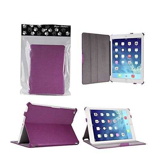 Bear Motion Case for iPad Air 2 - Premium Slim Folio Case Built in Stand for Apple iPad Air 2 (Support Smart Cover Function) - Purple
