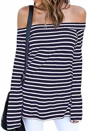 ZJCT Women's Off Shoulder Belled Long Sleeves Striped Shirts Casual Juniors Top
