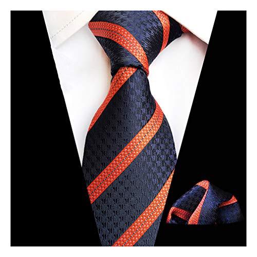MOHSLEE Mens Blue Orange Striped Silk Tie Necktie Handkerchief Pocket Square Set