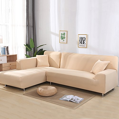 Universal Sofa Covers for L Shape, 2pcs Polyester Fabric Stretch Slipcovers + 2pcs Pillow Covers for Sectional sofa L-shape Couch - Cream-coloured