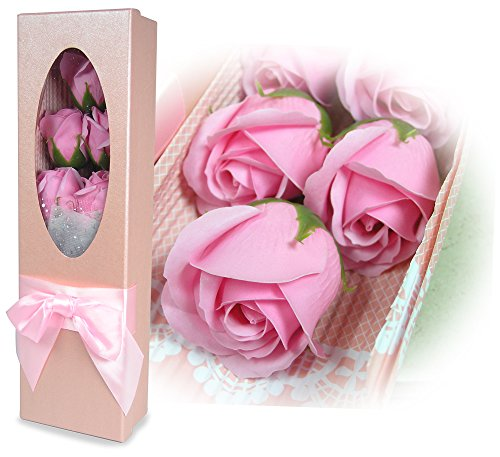 BANBERRY DESIGNS Pink Rose Flowers Bouquet - Set of 5 Pink Scented Roses- Gift Boxed for Mother's Day Gifts for Her - Mom - ()