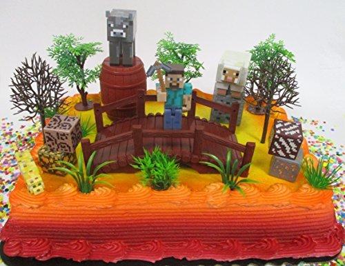 MINECRAFT 20 Piece Birthday Cake Topper Set Featuring Random