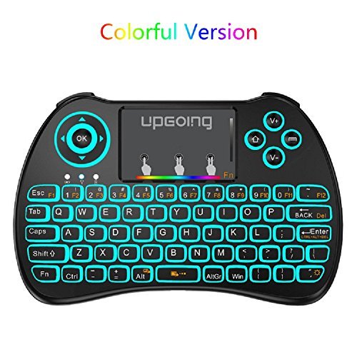 Wireless Keyboard Usb Port - UpGoing Mini Wireless Keyboard, Backlit Keybaord with Touchpad Mouse Combo USB 2.4GHz Colorful for PC,Smart TV,Google Android TV Box,HTPC,IPTV,Raspberry pi 3,Pad and More USB Port Device