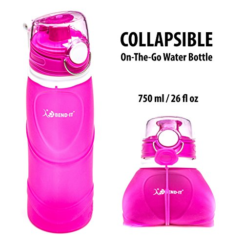 Bend-It Travel Collapsible Pink Water Bottle - Silicone BPA Free Spill Proof Sports Water Bottle Squeeze Gifts For Girls, Woman Gifts, Best Water Bottles For Kids, 26 Ounce Leak Proof Flip Cap (Bike Nutrition Box)