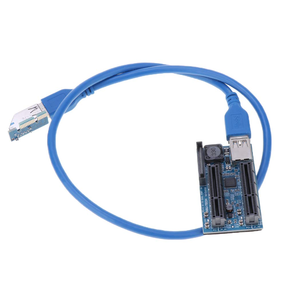 glotrends 1X to 2 x 4X PCI-E Extension Cable 0.6M for Limited Space Installation UEX105