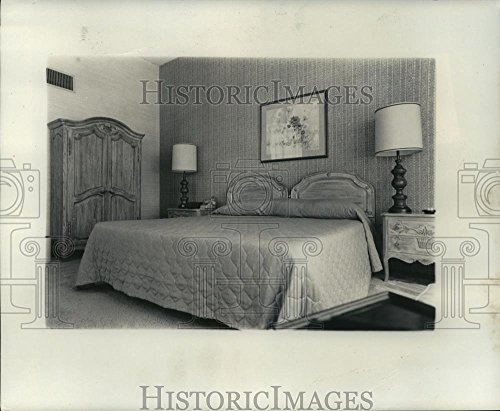 1986 Press Photo Bedroom with King Size Bed, Armoire and Side Tables