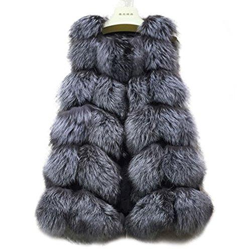 Manka Vesa Women's Real Cape Fox Fur Vest Sleeveless Long Coat Fluffy Waistcoat Outwear Jacket Silver