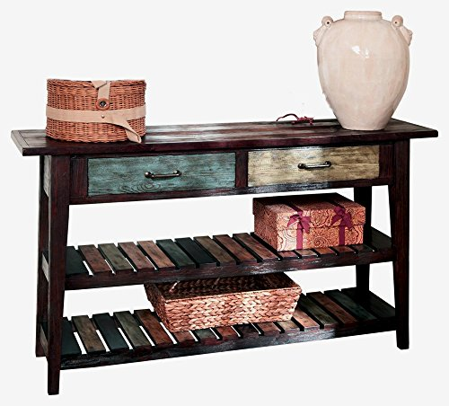 Vintage Console Table 2 Drawers Slatted Shelf Wooden Multi Coloured Storage Corner Home Furniture Blue Green Rectangular Organizer Decoration Retro & eBook by Easy&FunDeals