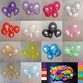 """Pack of 100pcs 10"""" Assorted Colours Latex Party Balloons Pearl Helium Wedding Birthday Celebration Party Balloons"""