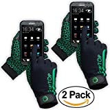 Touch Screen Gloves - Great for Running Rugby Football Walking (Green, 2 Pack - Extra Large)
